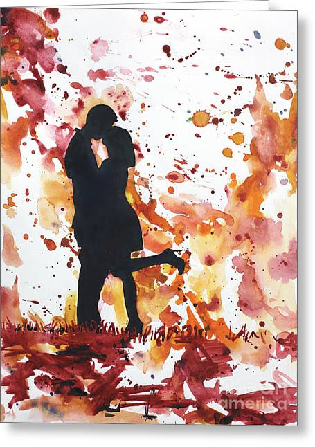 Art Reproduction Greeting Cards - Valentines Kiss Greeting Card by Ryan Fox