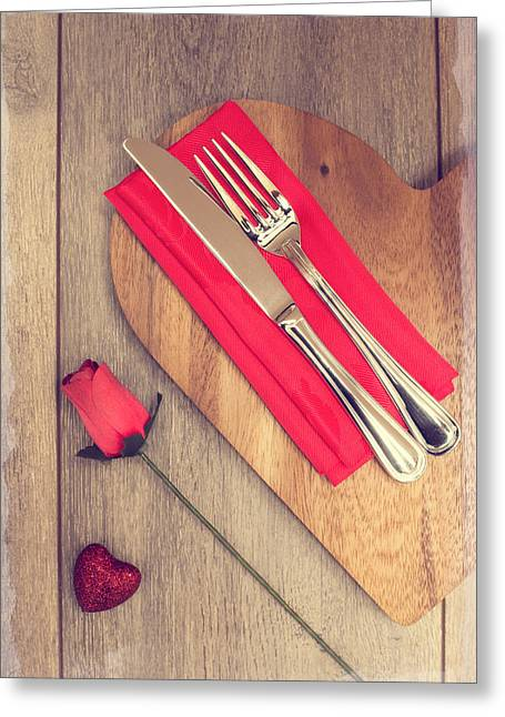 Valentine Greeting Cards - Valentines Table Setting Greeting Card by Amanda And Christopher Elwell
