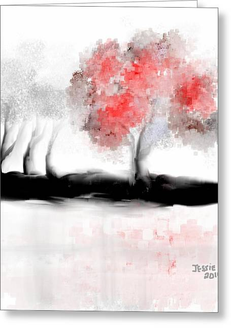 Shades Of Red Greeting Cards - Valentines Tree Greeting Card by Jessica Wright