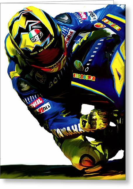 World Champions Greeting Cards - Valentino Rossi  Corner Speed III Greeting Card by Iconic Images Art Gallery David Pucciarelli