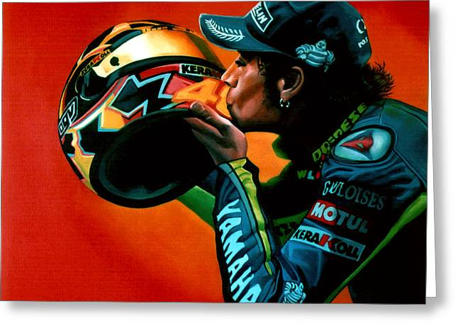 Dutch Greeting Cards - Valentino Rossi portrait Greeting Card by Paul  Meijering
