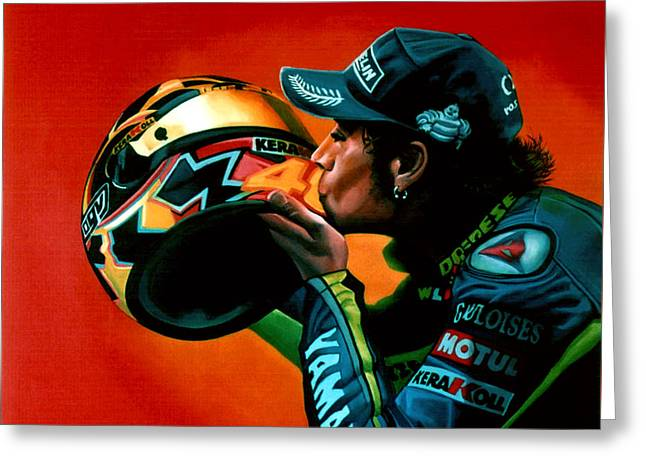 Yamaha Greeting Cards - Valentino Rossi portrait Greeting Card by Paul Meijering