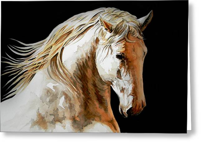 Horse Art Pastels Greeting Cards - VALIANT in black Greeting Card by Jose Espinoza