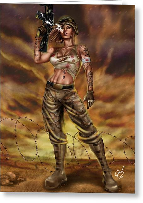 Iraq Drawings Greeting Cards - Valkyrie One Greeting Card by Pete Tapang