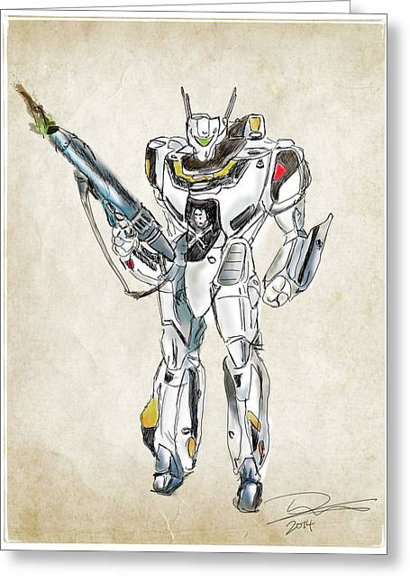 Tim Drawings Greeting Cards - Valkyrie VF-1S Greeting Card by Tim Nichols