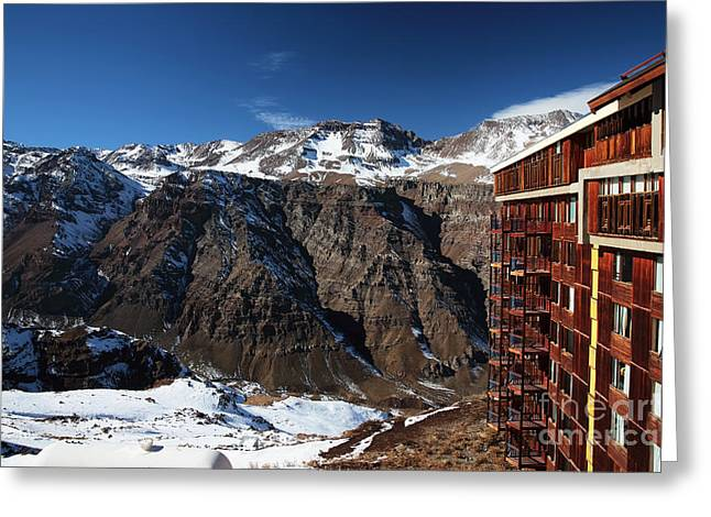 Skiing Art Posters Greeting Cards - Valle Nevado Colors Greeting Card by John Rizzuto
