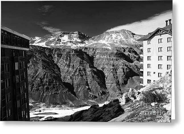 Skiing Art Posters Greeting Cards - Valle Nevado View Greeting Card by John Rizzuto