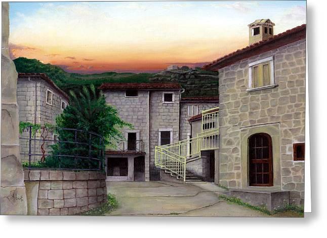 Tuscan Sunset Paintings Greeting Cards - Vallecchia de Monte Calvo Greeting Card by Albert Puskaric