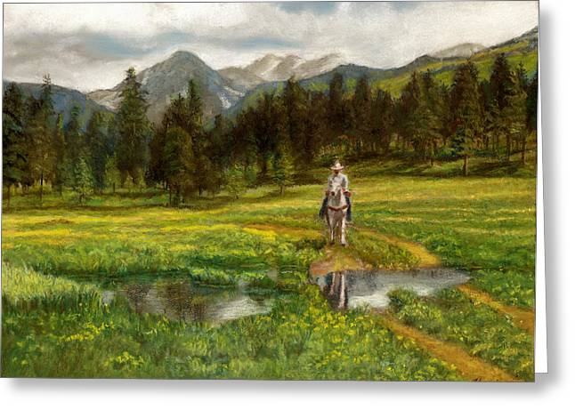 Puddle Pastels Greeting Cards - Vallecito Meadows Greeting Card by Harriett Masterson