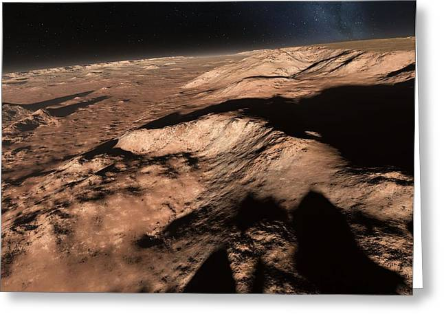 Mountain Valley Greeting Cards - Valles Marineris landscape, Mars, Greeting Card by Science Photo Library