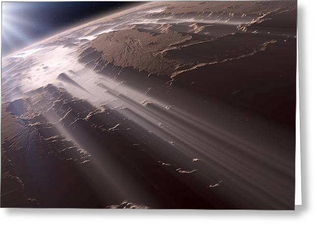 Mountain Valley Greeting Cards - Valles Marineris, Mars, artwork Greeting Card by Science Photo Library