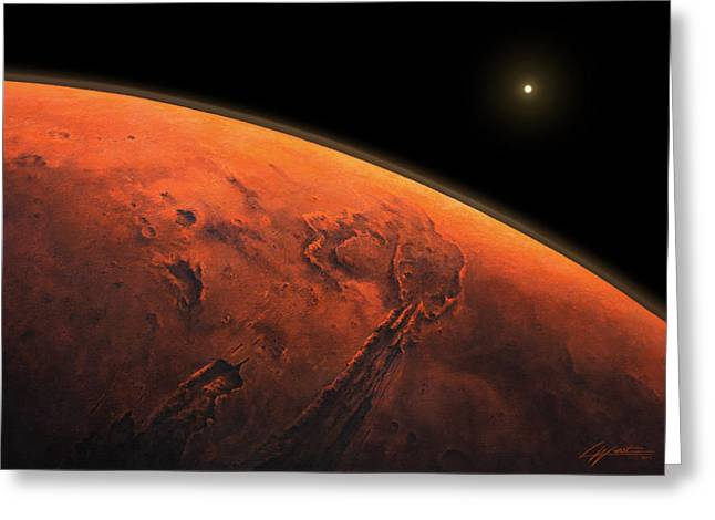 Valles Marineris Sunrise Greeting Card by Lucy West