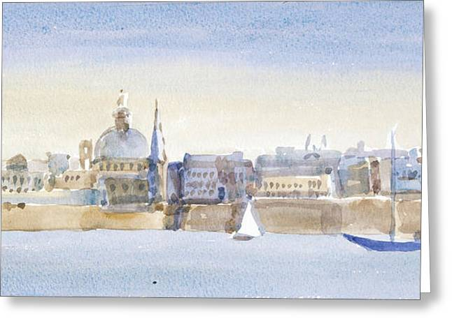 Maltese Photographs Greeting Cards - Valletta Skyline, 2011 Wc On Paper Greeting Card by Lucy Willis