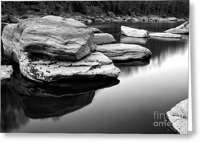 Creek Greeting Cards - Valley Falls D300_08089_bw Greeting Card by Kevin Funk