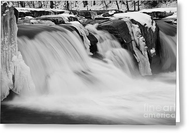 River Greeting Cards - Valley Falls D30009145_bw Greeting Card by Kevin Funk