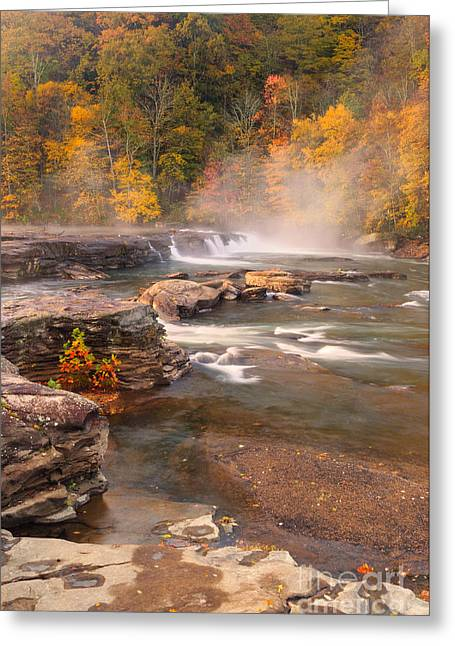 Fall Greeting Cards - Valley Falls D30018830 Greeting Card by Kevin Funk