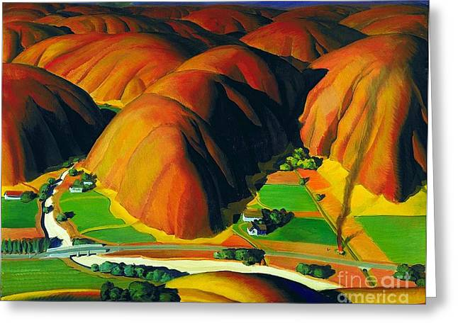 Wpa Prints Greeting Cards - Valley  Farms Greeting Card by Pg Reproductions