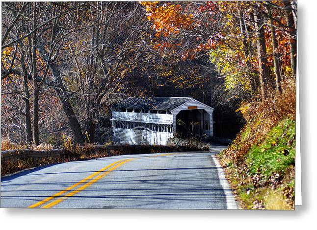 Valley Forge Covered Bridge In The Fall Greeting Card by Bill Cannon