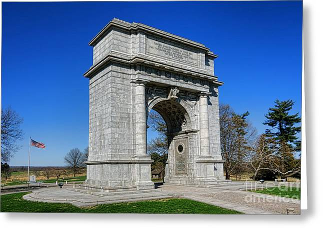 Dedicated Greeting Cards - Valley Forge National Memorial Arch Greeting Card by Olivier Le Queinec
