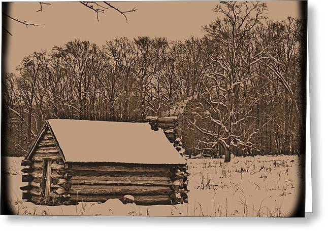 Log Cabin Photographs Digital Greeting Cards - Valley Forge Winter 1 Greeting Card by John Feiser