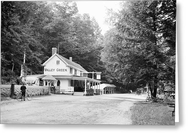 Wissahickon Creek Greeting Cards - Valley Green circa 1905 Greeting Card by Digital Reproductions