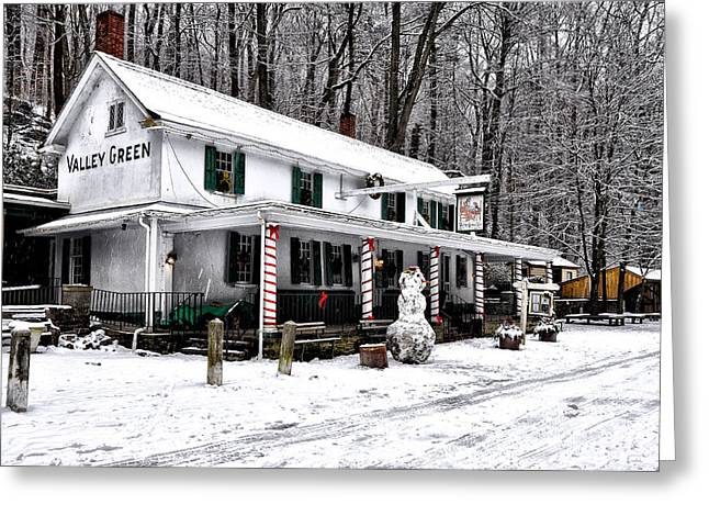 Phila Greeting Cards - Valley Green in Winter Greeting Card by Bill Cannon