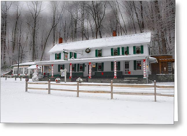 Valley Green Greeting Cards - Valley Green Inn After a Snowfall Greeting Card by Bill Cannon