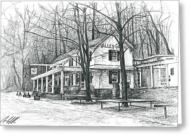 Philadelphia History Drawings Greeting Cards - Valley Green Greeting Card by Michael  Volpicelli