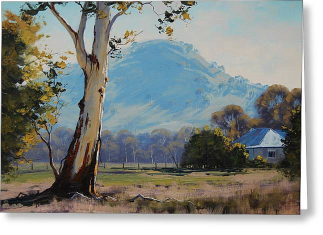 Shed Paintings Greeting Cards - Valley Gum Tree Greeting Card by Graham Gercken
