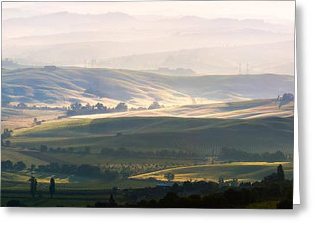 Colombos Greeting Cards - Valley near Montalcino at sunrise Tuscany Italy Greeting Card by Matteo Colombo