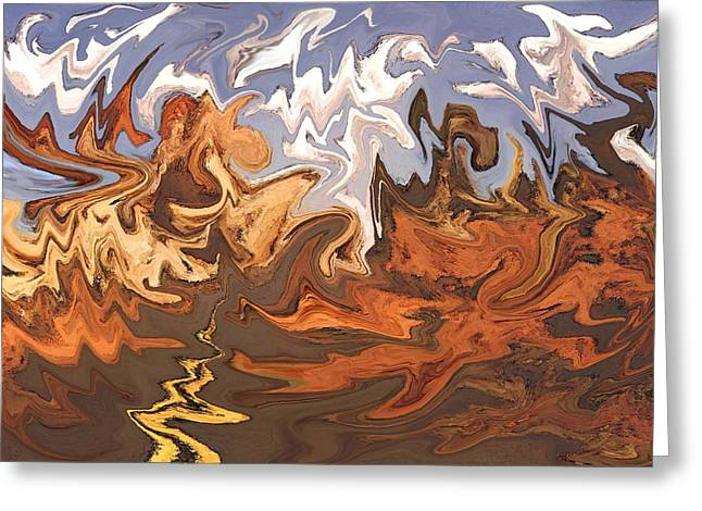 Print Greeting Cards - Valley of Fire - Modern Fantasy Art Greeting Card by Peter Fine Art Gallery  - Paintings Photos Digital Art