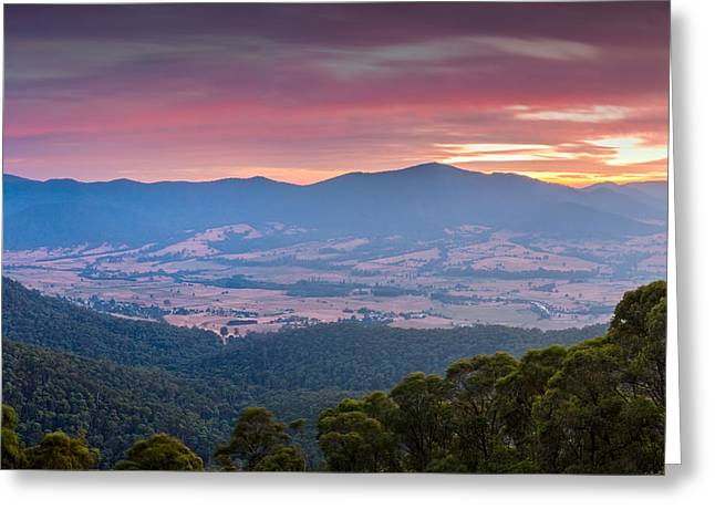Bushfire Greeting Cards - Valley of Smoke Greeting Card by Mark Lucey