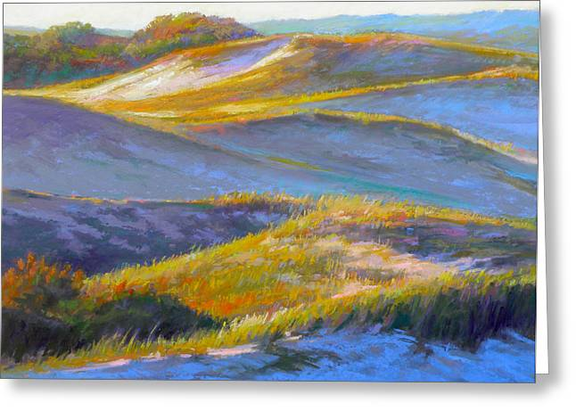 Hiking Pastels Greeting Cards - Valley of the Dunes Greeting Card by Ed Chesnovitch