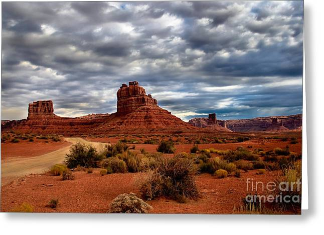 Scenic Drive Greeting Cards - Valley of the Gods Stormy Clouds Greeting Card by Robert Bales