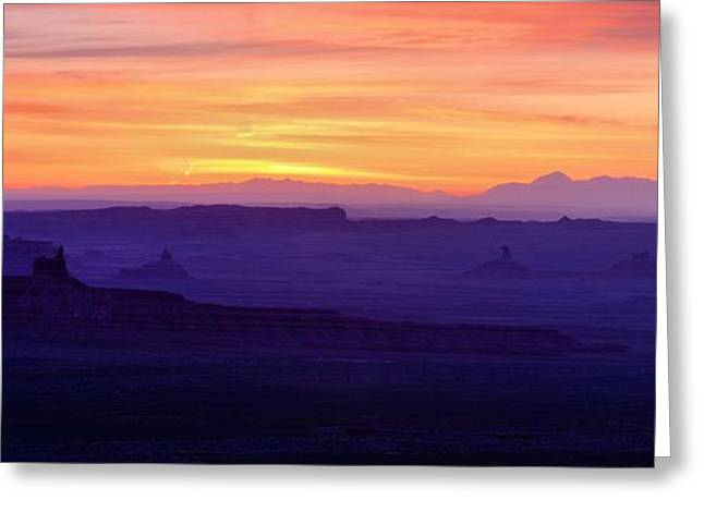 The Plateaus Greeting Cards - Valley of the Gods Sunrise Utah Four Corners Monument valley Greeting Card by Silvio Ligutti