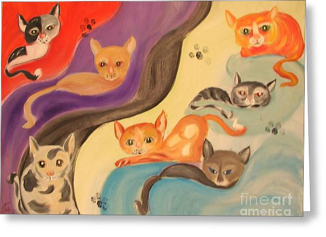 Valley Of The Kittens Greeting Card by Rachel Carmichael