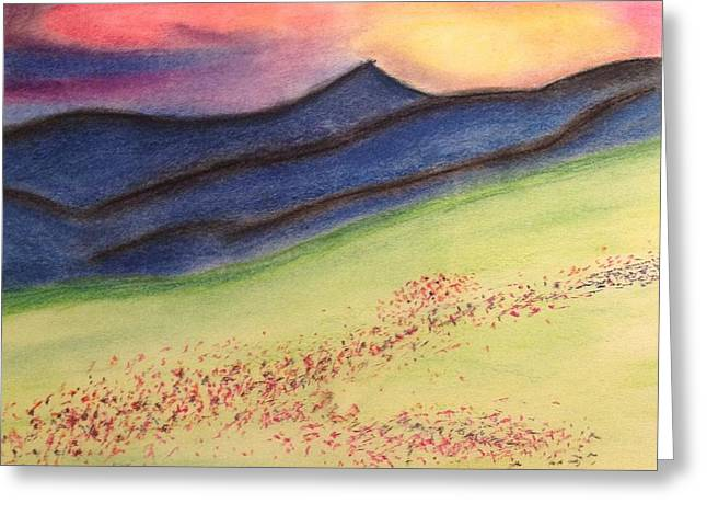 Mountain Valley Pastels Greeting Cards - Valley of the mountain  Greeting Card by Victoria Pelarenos