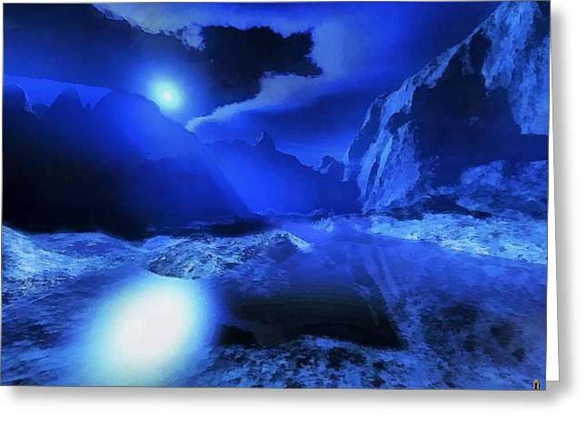 Terragen Mixed Media Greeting Cards - Valley of the Night Land Greeting Card by Mario Carini