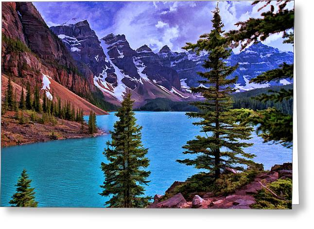 Snow Capped Greeting Cards - Valley of the Ten Peaks - Banff National Park Greeting Card by Allen Beatty
