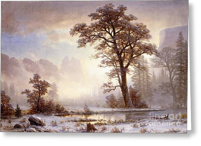 Nature Scene Paintings Greeting Cards - Valley of the Yosemite Snow Fall Greeting Card by Albert Bierstadt