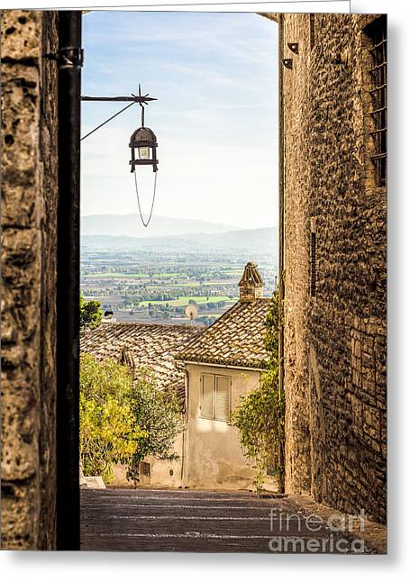 Haze Greeting Cards - Valley outside Assisi Greeting Card by Prints of Italy