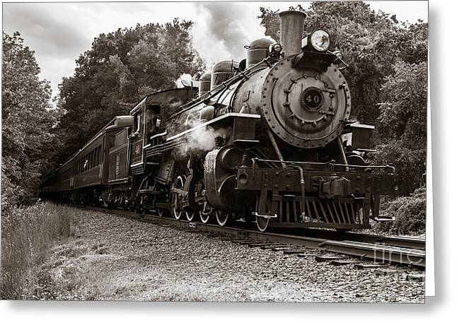 Deep River Greeting Cards - Valley Railroad Steam Train Greeting Card by Edward Fielding