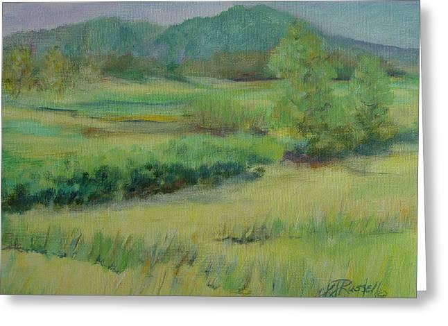 K Joann Russell Greeting Cards - Valley Ranch Rural Western Landscape Painting Oregon Art Artist K. Joann Russell Greeting Card by K Joann Russell