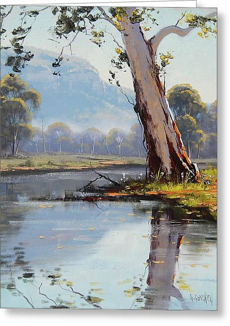 Eucalyptus Tree Greeting Cards - Valley River Greeting Card by Graham Gercken