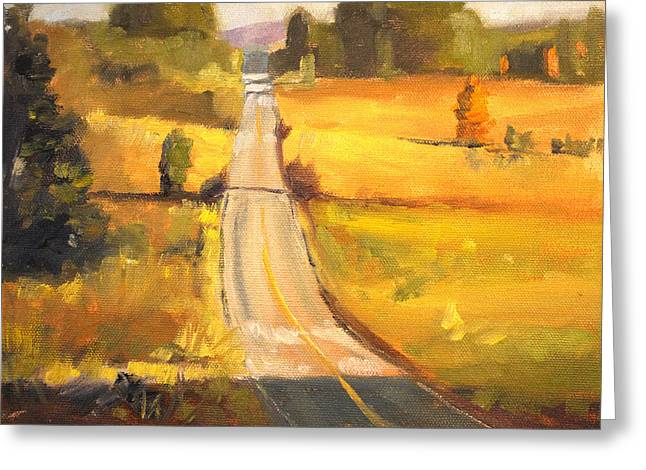 Sunriver Greeting Cards - Valley Road Greeting Card by Nancy Merkle