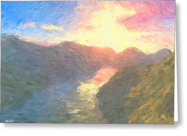 Valley Serenity Greeting Card by Aindriu G