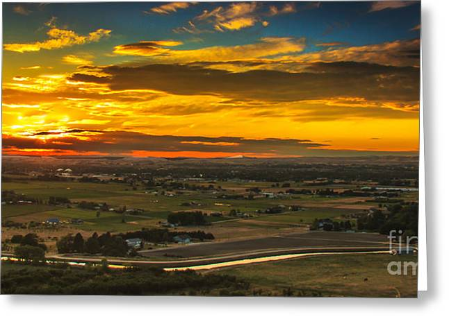 Emmett Valley Greeting Cards - Valley Sunset Greeting Card by Robert Bales