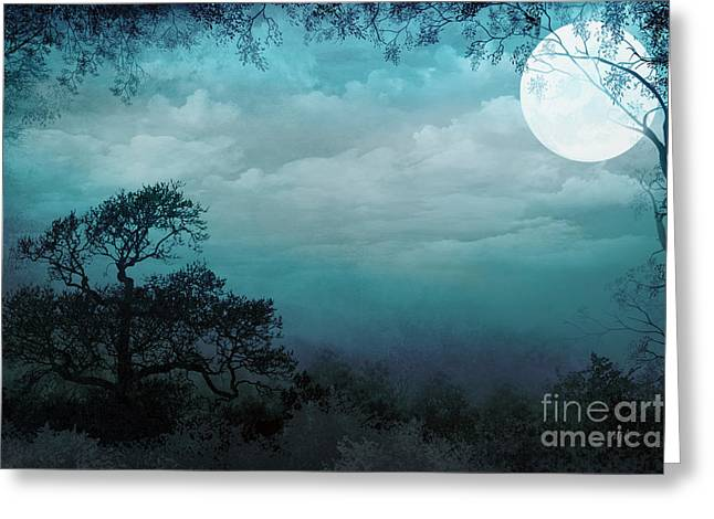 Fantasy Tree Art Greeting Cards - Valley Under Moonlight Greeting Card by Bedros Awak