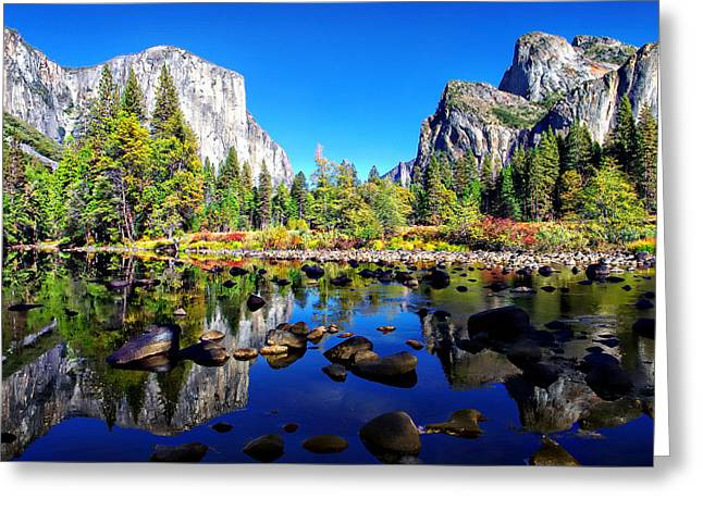 Bridalveil Falls Greeting Cards - Valley View Reflection Yosemite National Park Greeting Card by Scott McGuire