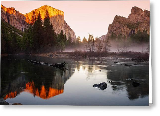 Cathedral Rock Greeting Cards - Valley View winter sunset Yosemite National Park Greeting Card by Scott McGuire